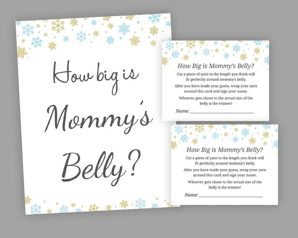 Winter Baby Shower Games How Big Is Mommys Belly Game Etsy