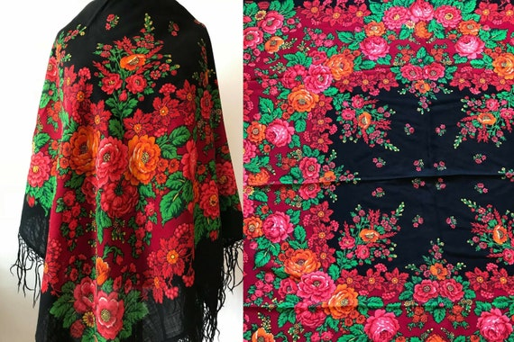 Vintage wool shawl with flower pattern, Ukrainian
