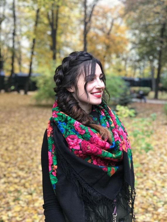 "Vintage Ukrainian bohemian  shawl ""Warm Hugs"""