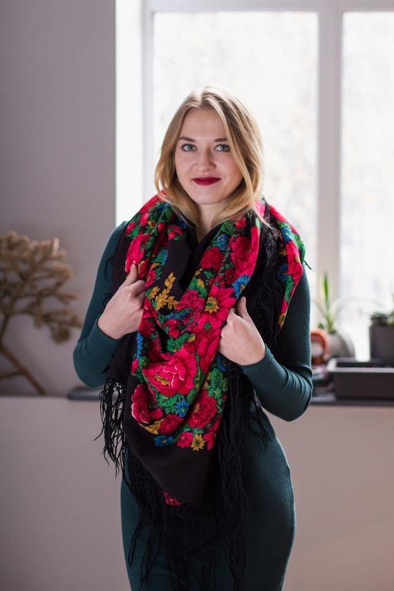"Vintage Ukrainian bohemian  shawl "" Summer Garden"""