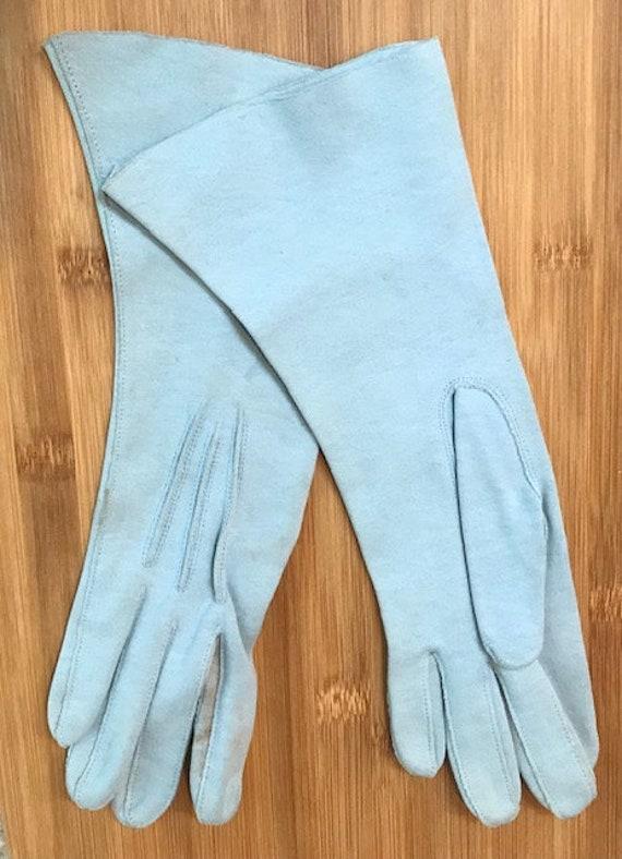 Leather, light blue, gauntlet length vintage glov… - image 1
