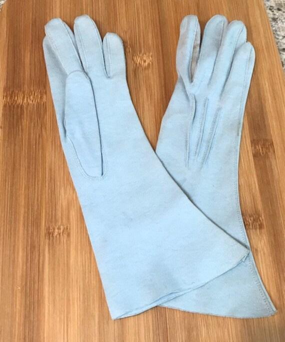 Leather, light blue, gauntlet length vintage glov… - image 2