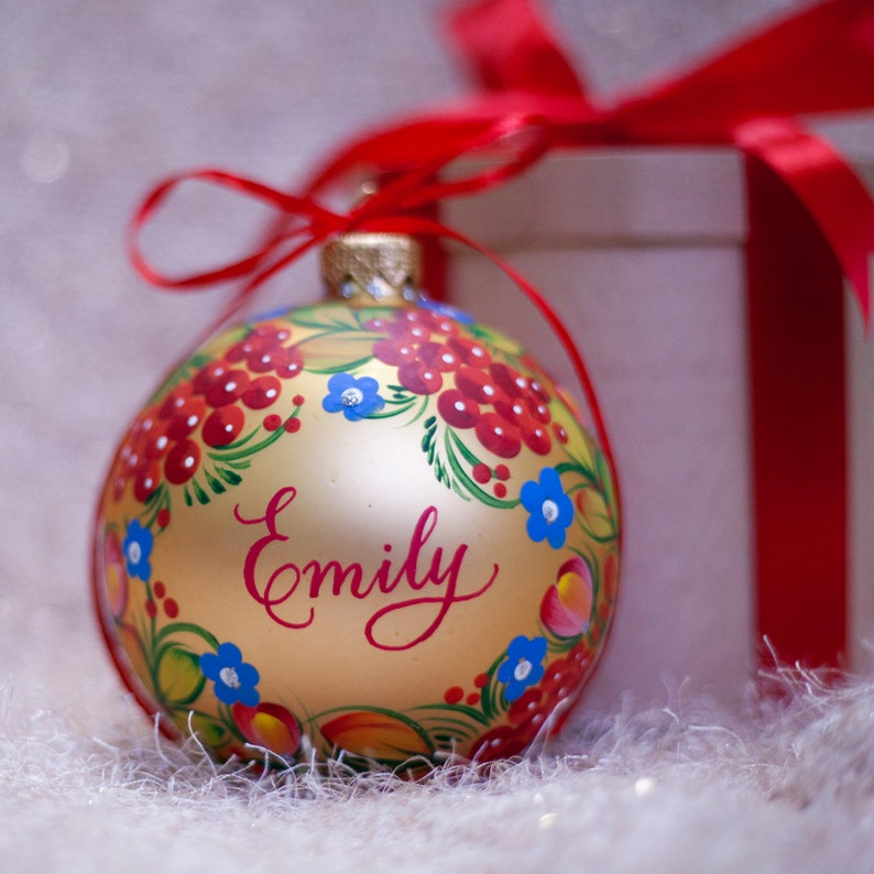 Red Christmas Character Bauble 7cm Personalised Christmas Decoration