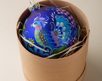 Blue Peacock Ornament PETRYKIVKA Personalized Christmas Tree Bauble, Hand Painted Glass Bird Ornament, Christmas Decor Gift, Free Gift Box