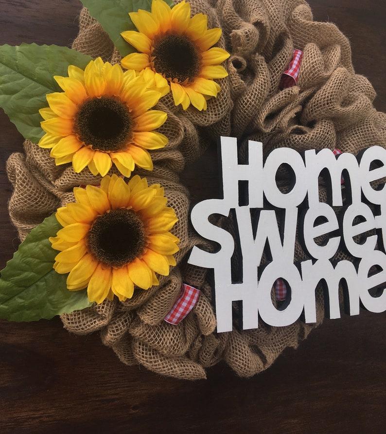 Sunflower Wreath Sunflower Door Decor Home Wreath Front Door Wreath Summer Burlap Wreath Everyday Door Wreath Summer Door Wreath