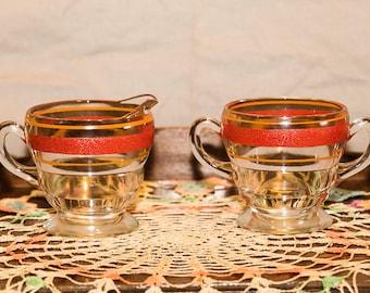 Vintage Glass Cream & Sugar Set, Art Deco, Clear Glass with Red Orange Stripes