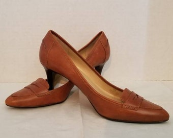 5cdea0bd520 Vintage Ralph Lauren Brown Leather Penny Loafer Heels