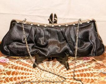Sac de soirée en Satin Noir Vintage, Oblong, bandoulière chaîne