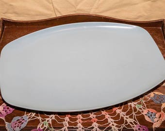 Vintage Mid Century Stetson Melmac Oval Blue Serving Platter, Melamine, Stetson - Chicago IL USA