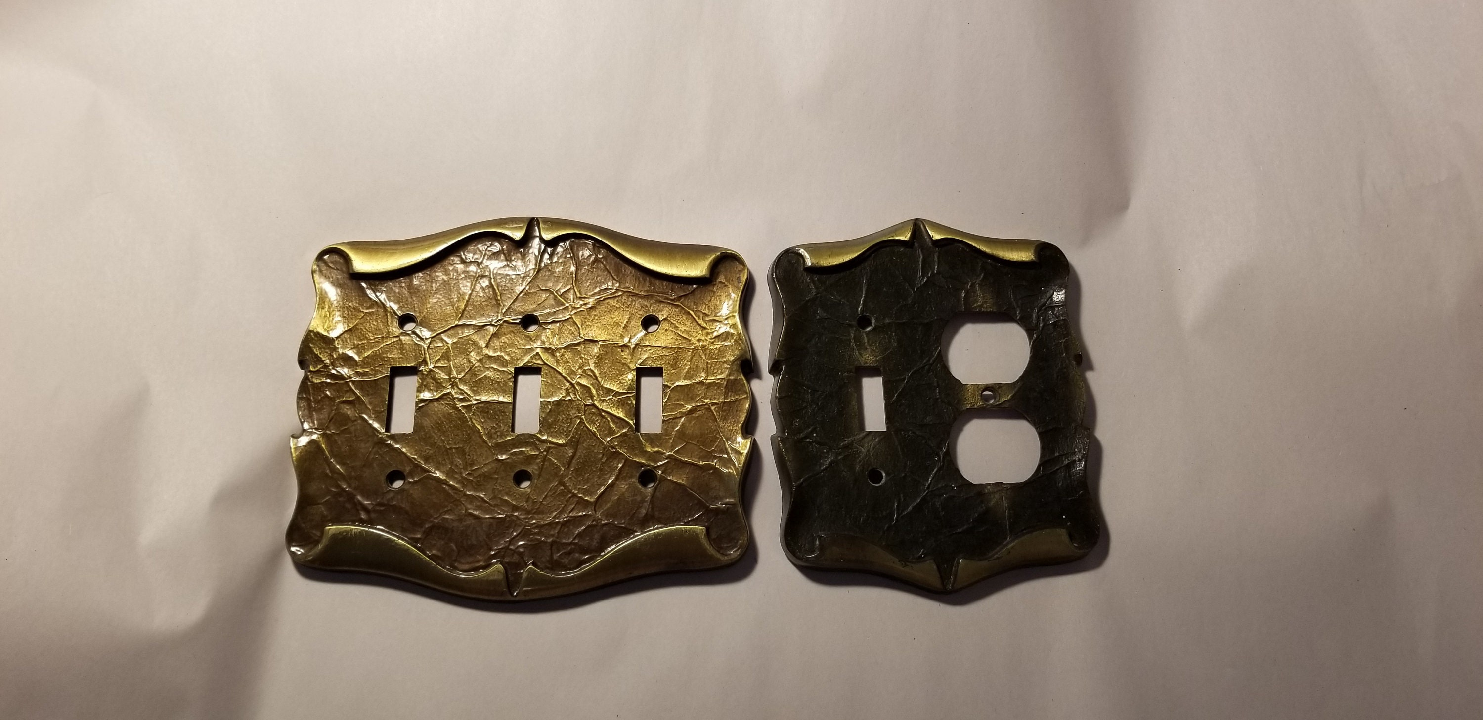 Set Of 3 Vintage Amerock Decorative Metal Light Switch Plate Covers Brass Black