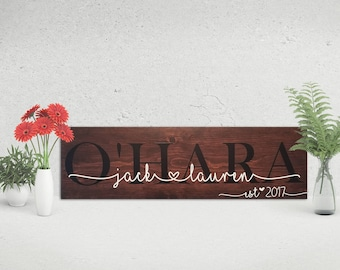 Wooden Last Name Sign | Family Established | Wedding Gift | Bridal Shower Signs | Rustic Decor | Anniversary Gift | Father's Day Gift