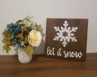 Let It Snow Wooden Sign   Wooden Word Sign   Wooden Christmas Decor   Wooden Winter Sign   Rustic Decor