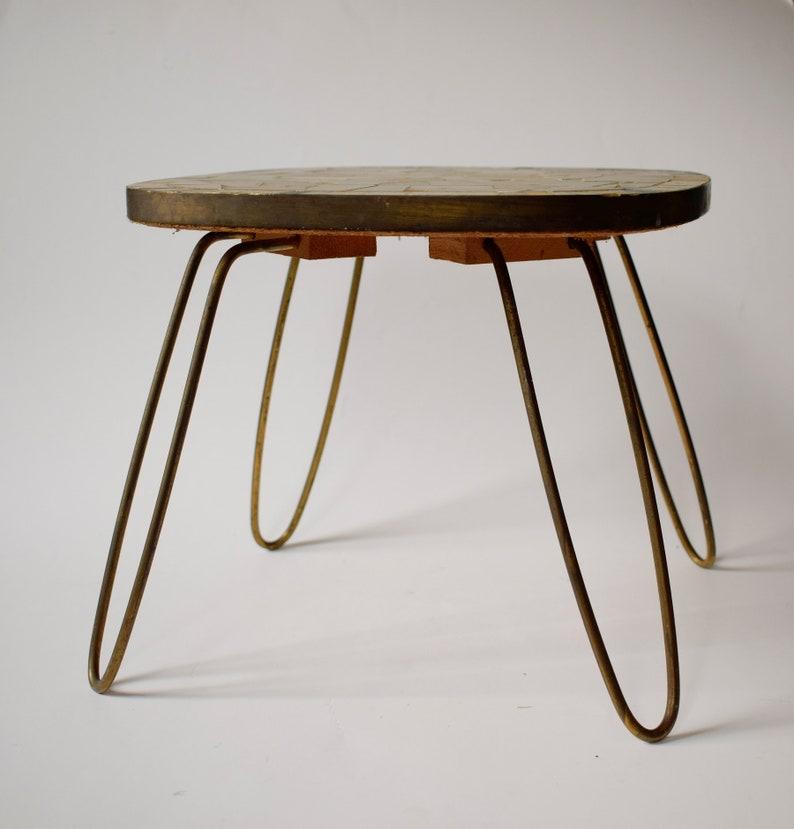 Hairpin legs Mosaic Table Mid-century Plant stand Flower coffee table Nightstand 60s string era regency Nierentisch Tripod Beistelltisch