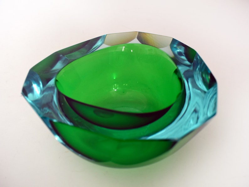 Green & Amber Fast Color Vintage Murano Sommerso Flavio Poli Glass Vase Art Glass Glass