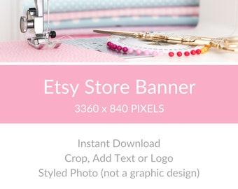 Etsy Shop Banner, Etsy Shop Image, Banner for Etsy Shop, Etsy Shop Cover Photo, Etsy Big Banner - Sewing Machine