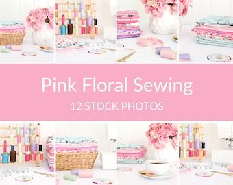 Stock Photo Bundle, Styled Stock Photos, Sewing Images, Sewing Photo Bundle, Pink Sewing Photos, Styled Photography, Sewing Stock Photos