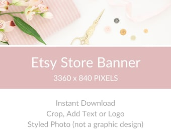 Etsy Store Banner, Etsy Shop Branding, Etsy Shop Cover Photo, Etsy Big Banner - Blush Sewing Supplies