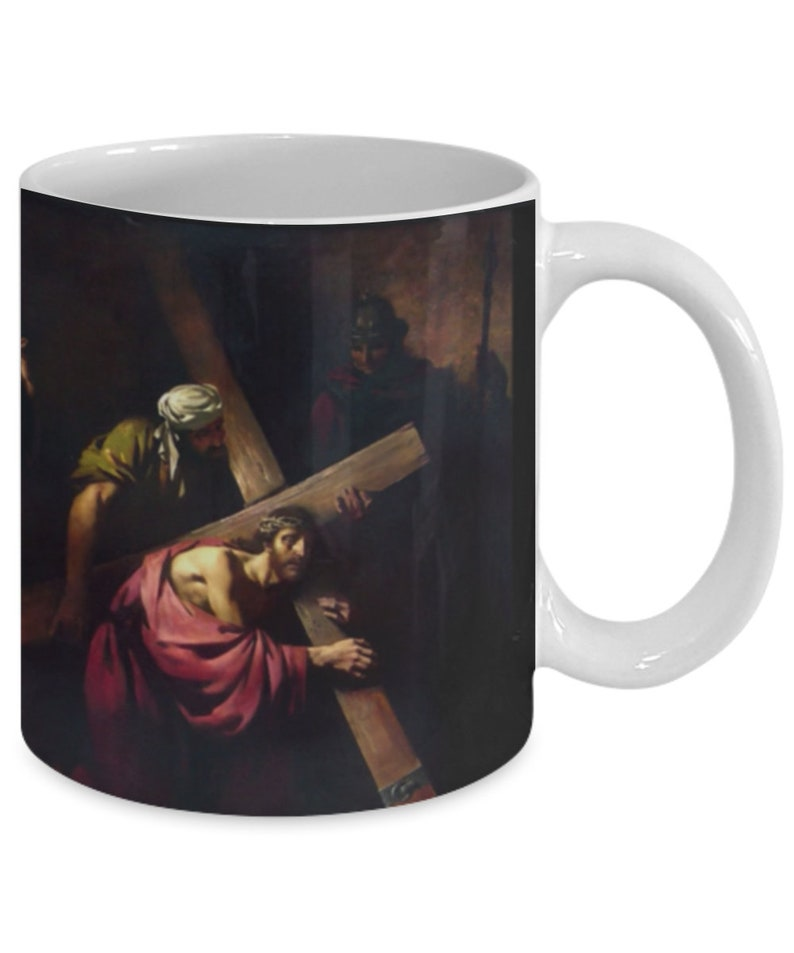 Gift for Catholic! Jesus Carries His Cross on one side Bible verse on the  other 11 oz mug For Priest Seminarian Deacon Youth Group