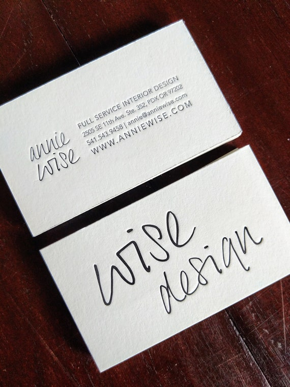 Custom Letterpress Business Cards Etsy