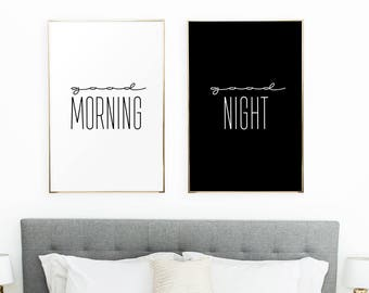Bedroom print/ printable art/ modern print/ minimalist print/ bedroom decor/ bedroom wall art/ good morning/ good night/ set of 2/ large