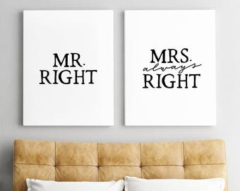 Set of 2 Prints/ Wedding Gift/ Printable Art/ Mr Right/ Mrs always Right/ Bedroom Print/ Bedroom Decor/ Bedroom Wall Art/ Minimalist Print