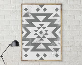 Modern print, Geometric Print, Aztec Print, Trending now print, Above Bed Print, Bedroom Decor, Printable Art, Grey Abstract Art, Tribal Art