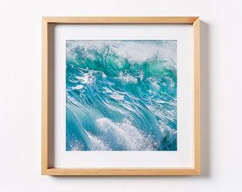 Beach Print/ Ocean Print/ Ocean Waves Print/ Printable Art/ Blue Wall Art/ Tropical Wall Decor/ Beach Decor/ Beach Ocean Print/ Square Print
