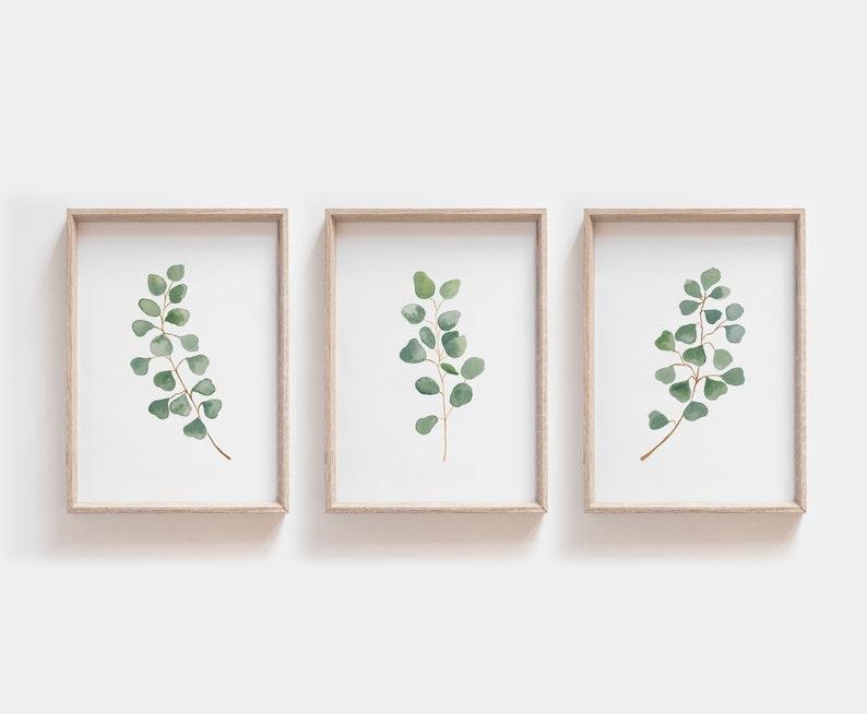 photo about Printable Prints known as Fastened of 3 prints, Eucalyptus Print, Botanical Print, Printable Artwork, Wall Artwork, Minimalist Print, Leaf Print, Bed room Decor, Rustic Wall Decor