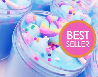 Unicorn Birthday Cake Slime (Scented) with Charm