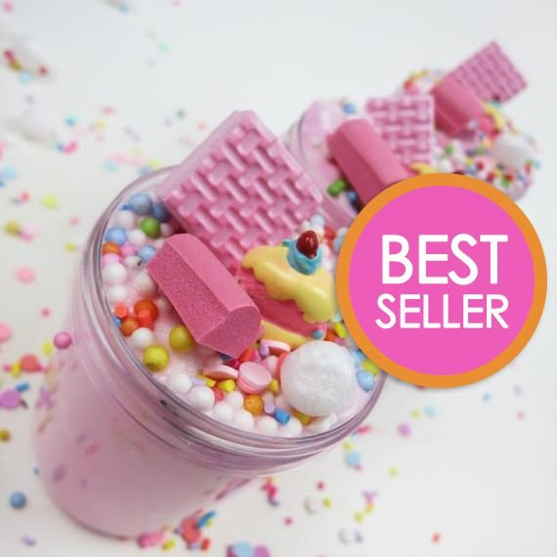Strawberry Birthday Cake Slime with Charm Scented  SLIME image 0