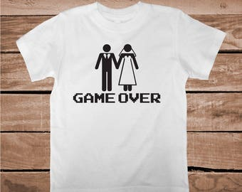 ac613ce1 Game Over Shirt Tee Tees Game Over Husband Shirt Game Over Bride T-Shirt  Bachelor Party Shirt Tees Groom Tee Wedding Party Custom Tee, aa91
