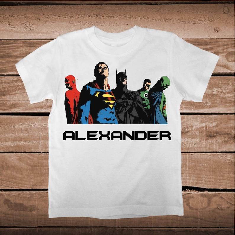 2f862aa3e Superheroes Tees With Name Superhero T-Shirt Baby Clothes   Etsy