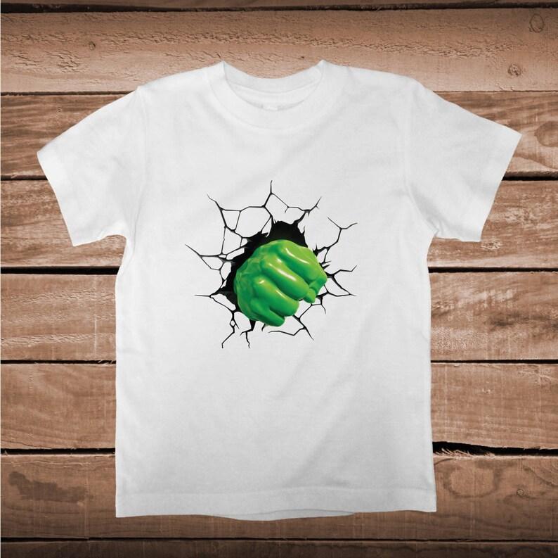fe79a3734 Superhero Hulk 3D Design On Tee Tees Kids Hulk Smash T-Shirt   Etsy