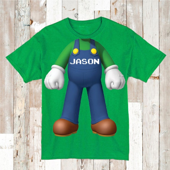 Boys Luigi Body Personalised T-shirt, many colours