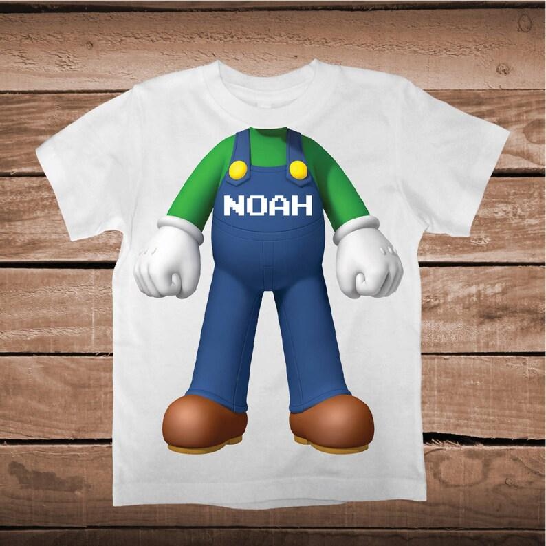 61c9eca89 Super Mario Luigi Body Shirt Tee Tees T-shirt For Kids Video   Etsy