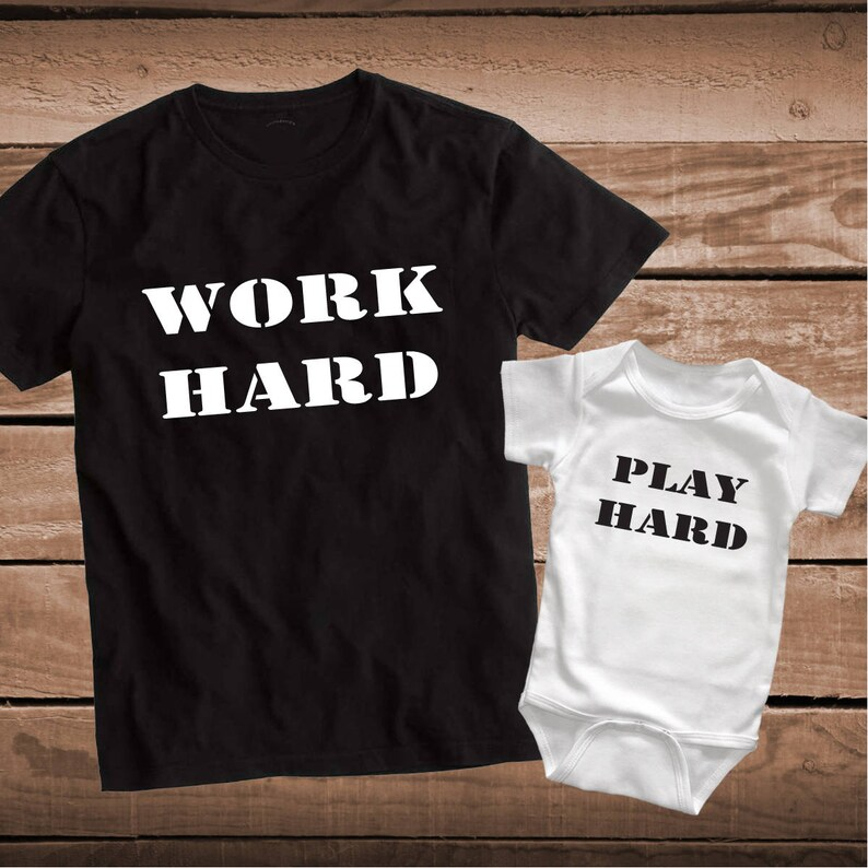 2fc864c2 Work Hard Play Hard Custom Tee Tees T-Shirts Father and Son | Etsy