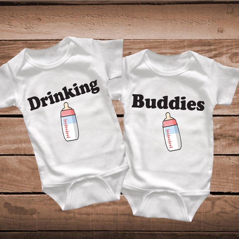 978ecdb7c Twins Drinking Buddies Baby Clothes Toddler Crawlers Body Suit | Etsy