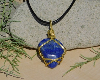 Lapis Lazuli Natural Stone Pendant Necklace by Solara Solstice Healing Stone of Spiritual Love for Inner Growth to help Open Crown Chakra