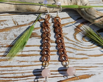 Rose Quartz High Quality Natural Stone Sterling Silver & Brass Dangle Earrings by Solara Solstice to Amplify Healing and Calming Love Energy
