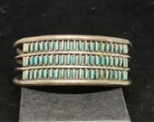 COLLECTIBLE Vintage Old Pawn Sterling Silver and Zuni Needlepoint Turquoise Cuff Bracelet Wrist Size 6 1 4