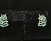 Vintage Old Pawn Sterling Silver and Turquoise Zuni Needlepoint Floral Earrings