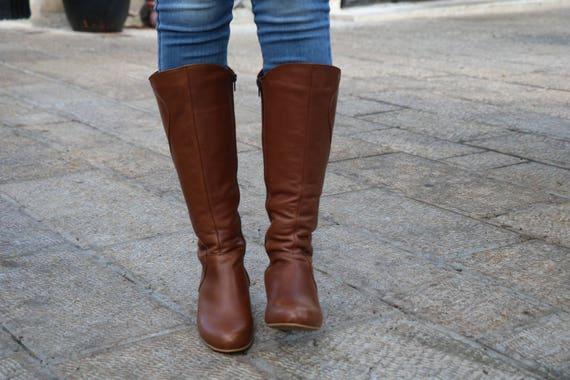 7e8b81485d3eb Handmade Brown Leather Tall Boots With Heel, Women Boots, Women Heels,  Women Winter Shoes, High Boots With Heel, Leather Boots