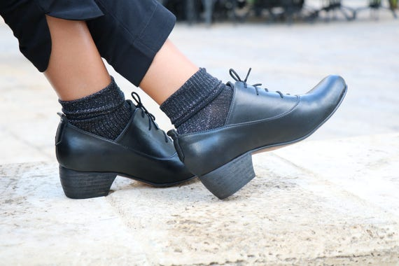 Shoes Free Black heel shoes Heel High Low Heels Heel Handmade Shipping Shoes dress Low Leather Pumps Heel Leather tqq1FH7pwx