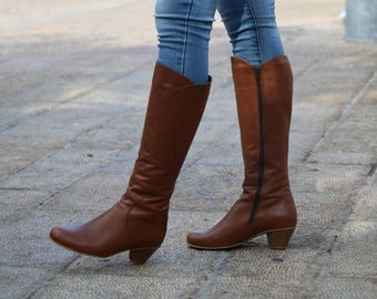 Handmade Brown Leather Tall Boots With Heel, Women Boots, Women Heels, Women Winter Shoes, High Boots With Heel, Winter Wearing