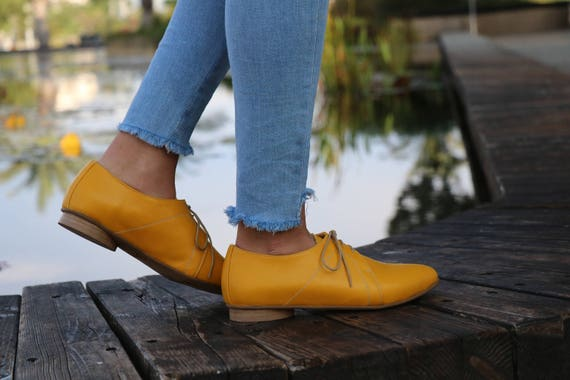 shoes Shoes Shoes Women Shoes HandMade Also Dress Yellow Flat Close Oxford Size Shoes Leather designer Shoes Shoes Large ZZqxw0