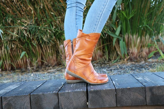 Handmade Women Boots Brash Boots Camel Shoes Leather Winter Wide Boots Ankle Fit Zippered Boots Boots Boots Leather Handmade nF1BFx8C