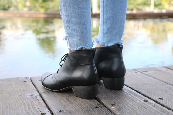 Handmade Black Free Boots Handmade With Shoes Booties Ankle Boots Winter Booties Tie Boots Shoes Leather Winter Shipping Heel aPqrgaw5