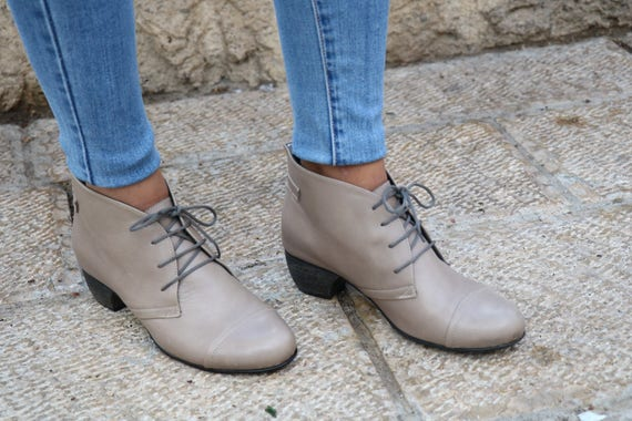 Shoes Handmade Gray Boots Boots Low Handmade Heels Leather Low Heel Free Booties Ankle With Tie Winter Shipping Heel Booties Boots n4rz8qx4Y