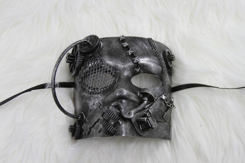 Brand New Steampunk Industrial Bauta Mask Silver