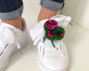 bag charm, Pompon Pimp sweet william, green,  Pompon Brooch, Shoe Clips, Pompon Charm, Shoe Charm, Pompon Pin, flower brooch